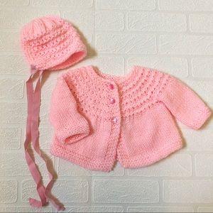 Hand-Knit Cardigan Sweater & Bonnet